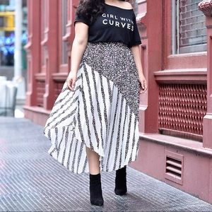 Deep Eggplant Pleated Mixed Print Skirt